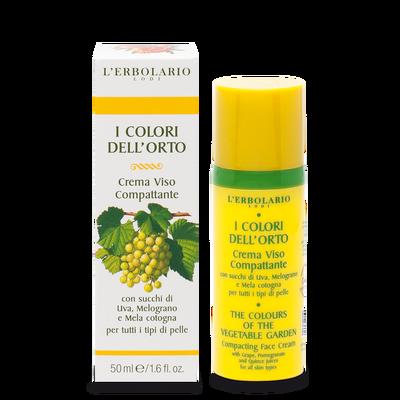 Per tutti i tipi di pelle, con succhi di Uva, Melograno e Mela cotogna  Crema Viso Compattante I Colori dell'Orto