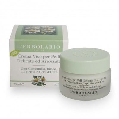Crema Viso per pelli delicate e arrossate con camomilla, rusco,liquirizia e c'era d'orzo 30 ml