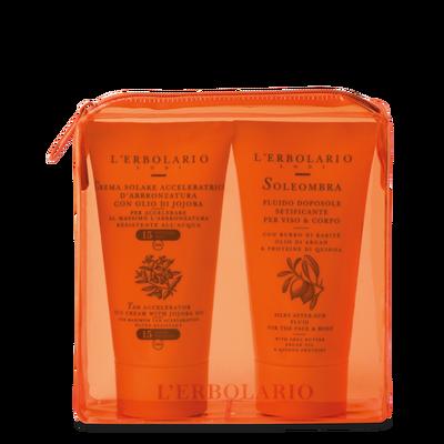 Il sole in viaggio: Pochette arancio l'Erbolario 2 prodotti solari da 75 ml
